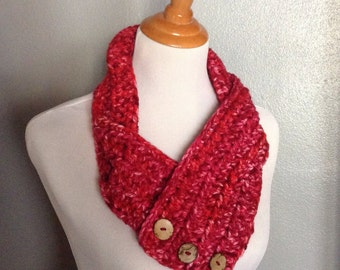 Red and Pink Scarf, Womens Scarf, Chunky Scarf, Valentine Scarf, Button Close Scarf