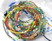Sale! 5 African Waist Beads LARGE Sizes; 5 Assorted Waistbeads Mix; Wrap & Soul Give-Back Waist Bead Project;  Multicolored Belly Chains,