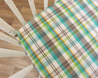 Crib Sheet- Boy Sheet- Plaid Crib Sheet Hipster Sheet- READY TO SHIP--Plaid Crib Sheet- Fitted Crib Sheet- Plaid Sheet