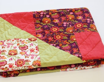 Folk Floral Print Throw Quilt, Gift for Her