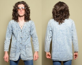 vintage 80s acid wash denim blazer smock shirt bedazzled jewels 1980 acidwashed jean jacket medium large oversize slouch Monique