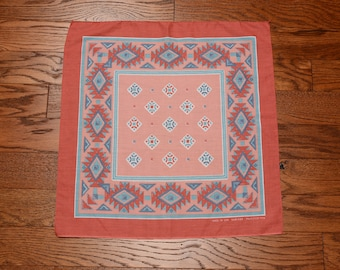 vintage 70s bandana southwestern bandanna 1970 pastel dusty rose blue headband kerchief Native American USA 14193