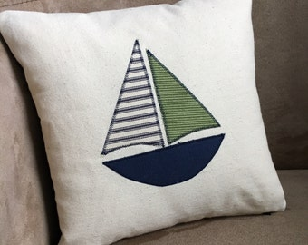 Nautical Sailboat Pillow // Beach  Pillow // Nautical Decor // Beach Decor