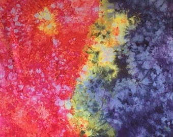 Rainbow Ice Dyed Cotton Fabric, Hand Dyed Cotton Fabric, Fabric Store Online, Gift for Quilter, Mother's Day, Sewing Fabric, Gift for Mom