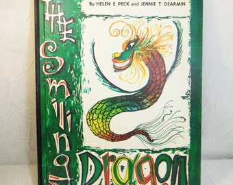 The Smiling Dragon by Helen E. Peck & Jennie T. Dearmin, 1st Edition 1968 Printing, illustrated by Leon Sevillia, Japan, kids book