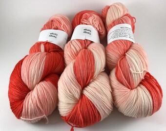 Coco Fingering, Hand Dyed Yarn, Fingering Weight, Superwash Merino, Ultra Soft Merino, Yarn, Hand Painted, 100g, Tangy Tange