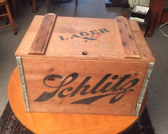 Rare Antique SCHLITZ LAGER X Beer Bottle Crate Wood Box Brewery Trunk