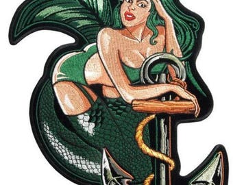 Mermaid With Anchor Sailor Motorcycle Uniform Patch Biker