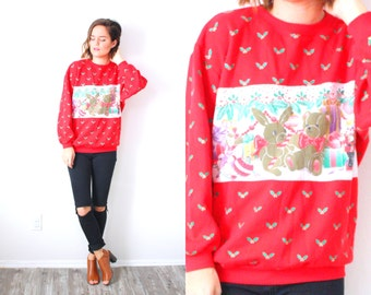 Vintage bunny bear christmas sweatshirt // red christmas jumper // tacky christmas oversized sweater // ugly Christmas sweatshirt party