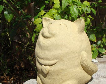 FAT BARNYARD CAT Solid Stone Fluffy Kitty Kitten Original Garden Sculpture Statue Figure for Outdoor Patio Lawn Yard Home Office Accent Art