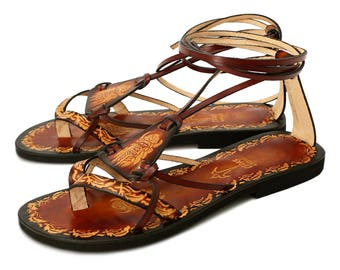 Hippie Boho Sandals, Brown Burnished Leather Lace Up Handmade Flat Sandals with Hand Painted Designs - FANTASY II