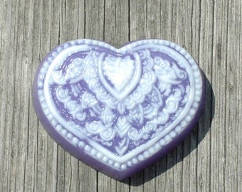 Henna Soap ~ Purple Heart Soap ~ Glycerin and Goat's Milk Soap ~ Lace Heart Soap ~ Wedding Favor ~ Engagement Party Favor ~ Valentine's Soap