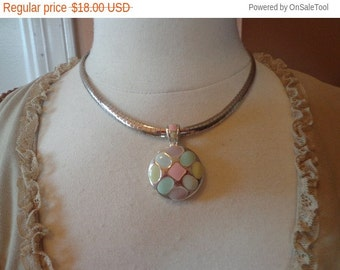 "15 off Sale Vintage Silver Tone Pendant w/ Pastel Enamel on 4mm Silver Tone 17"" Omega Chain"