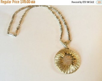WINTER SALE Stunning Unique Gold Tone Chain Vintage Two Tone Signed Hobe Mod Runway Necklace