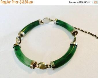 MASSIVE CLEARANCE Vintage Faux Jade Green Glass Stone Gold Tone Metal Bracelet