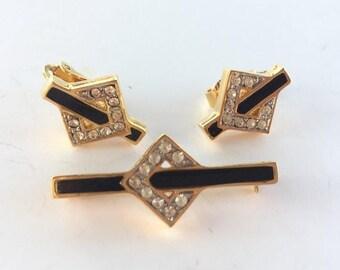 MASSIVE CLEARANCE Vintage Beautiful Signed Trifari Clear Gold Tone Clear Rhinestone and Black Enamel Pin and Earrings