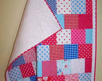Ready to Ship, Baby Quilt, Patchwork Quilt, Red, Blue, Pink, Handmade, Girl, Busy Hands Quilts
