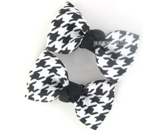 """Houndstooth Hair Clips, houndstooth hair bows, black and white 2.5"""" pair hair bows, baby hair bows, girls hair clips, girls hair bows winter"""