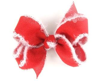 """READY to SHIP Santa Hair Bow - 4"""" hair bow, 4 inch hair bow, girls hair bows, big hair bows, baby big red and white fluff Christmas hair bow"""