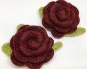Special Order for Maria 2 Felted Wool Rose Flower Brooch Pins in Garnet Heather