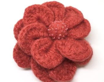 Felted Wool Swirl Flower Brooch hand crochet in Coral