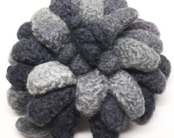 Felted Wool Flower brooch Dahlia in shades of grays with a touch of mauve