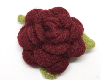 Felted Wool Rose Flower Brooch in Hollyberry Red with green leaves