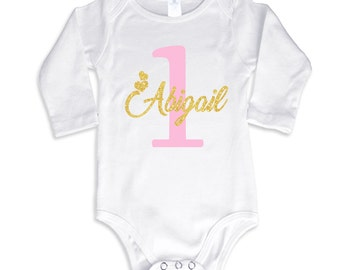 1st Birthday Girl T-Shirt Glitter Gold Name and Pink Age Personalized Long Sleeve Bodysuit