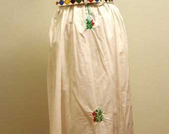 Vintage 70s San Antonino Oaxacan Mexican Wedding Dress. Hand Embroidered. Small to Medium