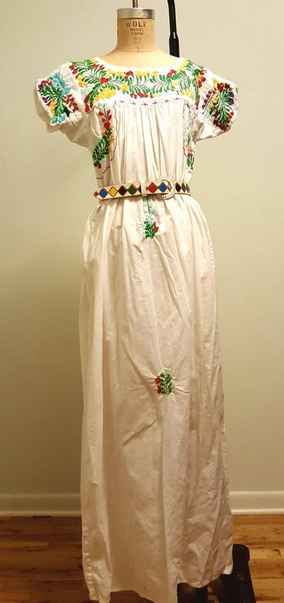 Vintage 70s san antonino oaxacan mexican wedding dress hand for Vintage wedding dresses san diego