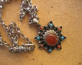 TRIBAL NECKLACE Tibetan Star necklace silver chain