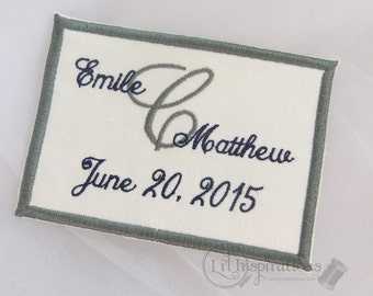 Custom Dress Label | Deluxe Wedding Gown Label | Personalized Wedding Dress Label | Embroidered Dress Patch
