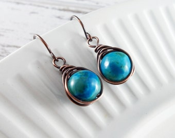Turquoise Wire Wrapped Earrings Copper Earrings Phenix Stone Wire Wrapped Jewelry Herringbone Wrapped Copper Wire Earrings