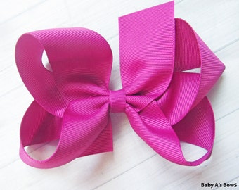 """Fuschia Solid Hair Bow, 5"""" Solid Hairbow, M2M Matilda Jane Bow, 5"""" Solid Bow, Solid Hairbow, Fuschia Bow, Big Girls Hair Bow, Girls Hair Bow"""