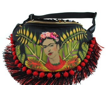 FRIDA Kahlo illustrated pompom fringed sequin bumbag fannypack. Exclusive fabric