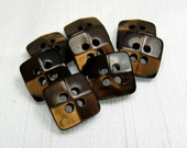 """Dimensional Glow: 7/16"""" (11mm) Dark Brown Square Buttons - Set of 8 Vintage New Old Stock Matching Buttons"""