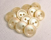 """Champagne Rainbow: 1/2"""" (13mm) Iridescent Buttons - Set of 12 Vintage New Old Stock Matching Buttons"""