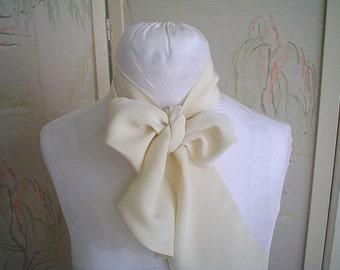 Vintage Silk Scarf or Sash Ivory Silk Crepe Long Skinny Scarf