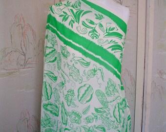 Green and White Floral Silk Chiffon Fabric Scarf or Panel Print Anna Sui Designer Silk Fabric