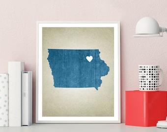 Iowa Print, Iowa Art Print, Iowa Decor, Iowa Map Art Print,  Custom State Map Print - Choose Your Color, City & Add Text, High Quality Print