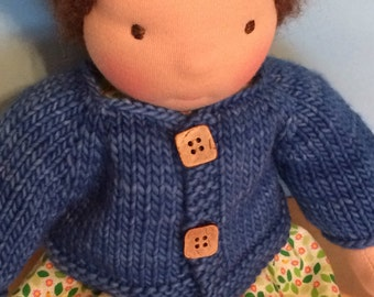 Waldorf Doll Knit Sweater for 12-Inch Waldorf Doll  **Continental Blue**
