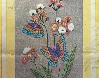 1970s Rainbow Butterflies Vintage Crewel Embroidery Kit 878B by Creative Stitchery 11 x 14 Homespun Made in Hong Kong Birthday Gift for Her