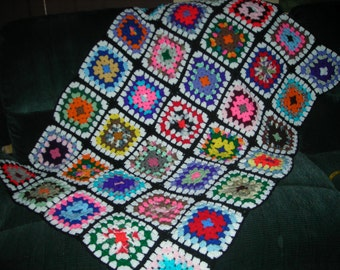 Hand Crochet Granny Square Afghan