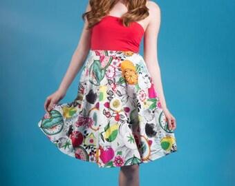 Market to Market Skirt - Fruit Punch Print - Cotton Kitsch Novelty Pin Up Rockabilly Retro Vintage Inspired Pinup Nashville Southern Belle