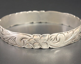 "Hawaiian Bracelet Sterling Bracelet Bangle 7.75"" Circumference"