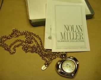 Vintage Nolan Miller Watch Pendant Locket Anniversary Heart Necklace Watch Unworn in Original Box Vintage Jewelry Vintage Fashions