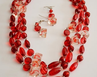 LONG RED Beaded Necklace and Earrings Set / Red Glass Necklace / Gift for Her / Flapper length necklace earrings / Gift boxed