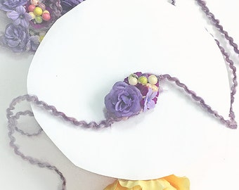 Purple Lavender Head Tie Photo Prop - Newborn Baby Girl, Toddler Head Tie with Silk Flower for Spring Photography  - Baby Shower Gift