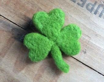 Green Wool Shamrock Brooch Pin Jewelry Needle Felted