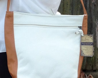 Beautiful two tone purse, cream and caramel color Rita style, large leather  handbag, made in the USA, leather purse for spring and summer